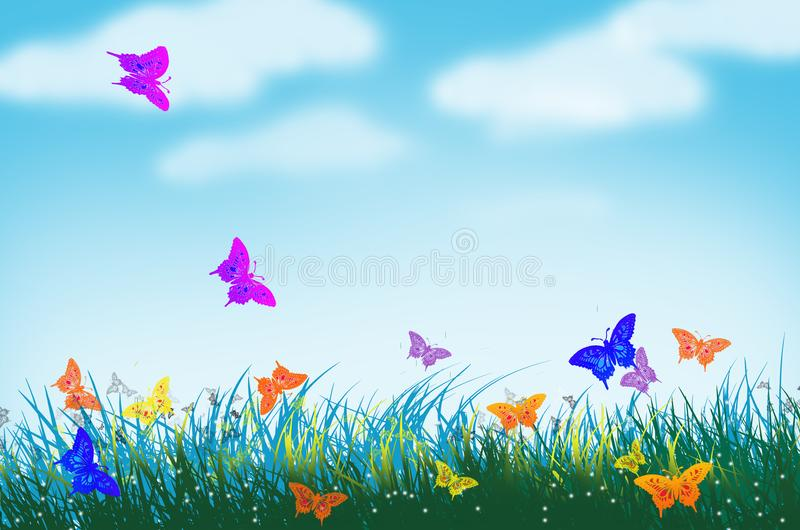 Schmetterlingswelt in der Rasenfläche lizenzfreie abbildung
