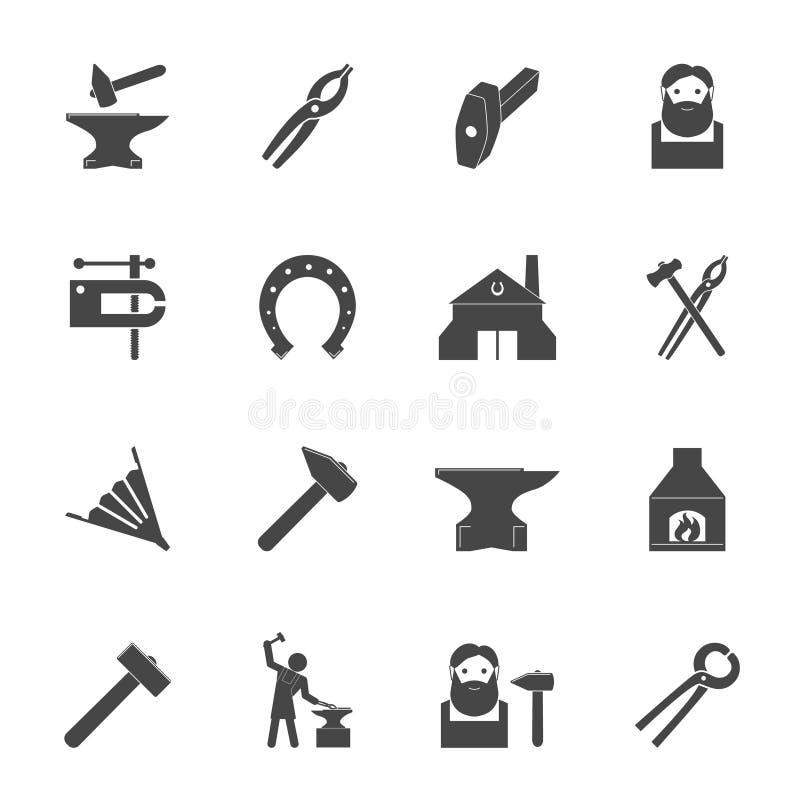 Schmied Icons Set lizenzfreie abbildung