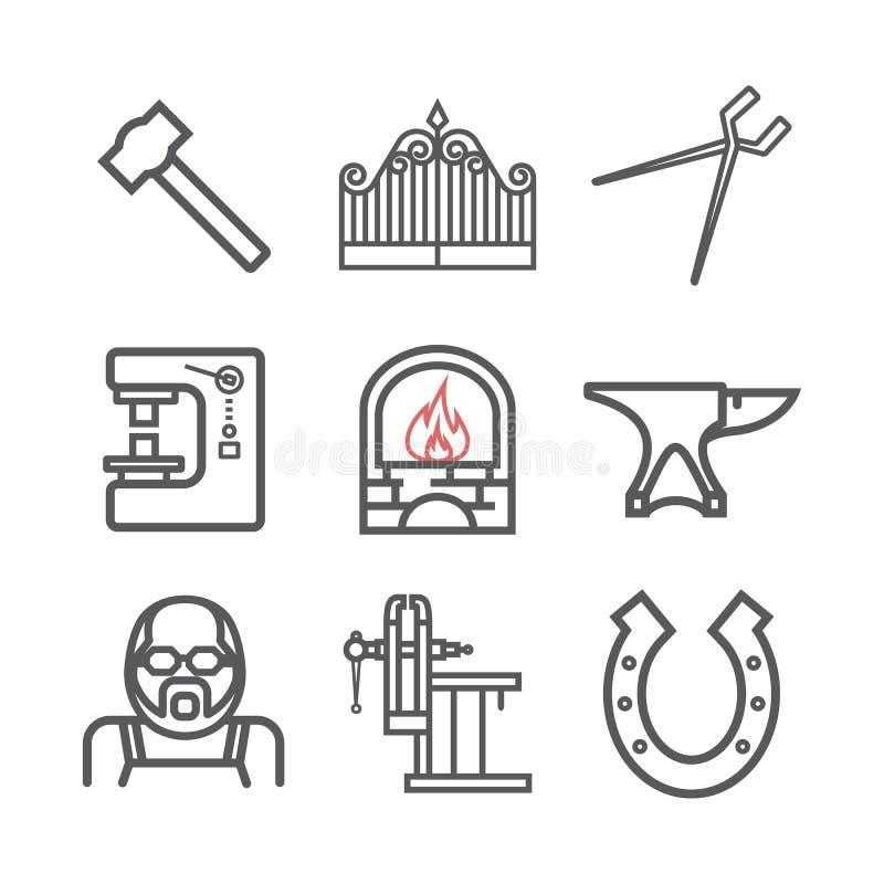 Schmied Icons Set Vektorzeichen f?r Netzgraphiken lizenzfreie abbildung