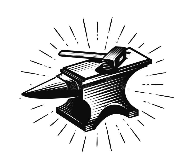 Schmiede, Schmied Amboss und Hammer, Vektorillustration stock abbildung