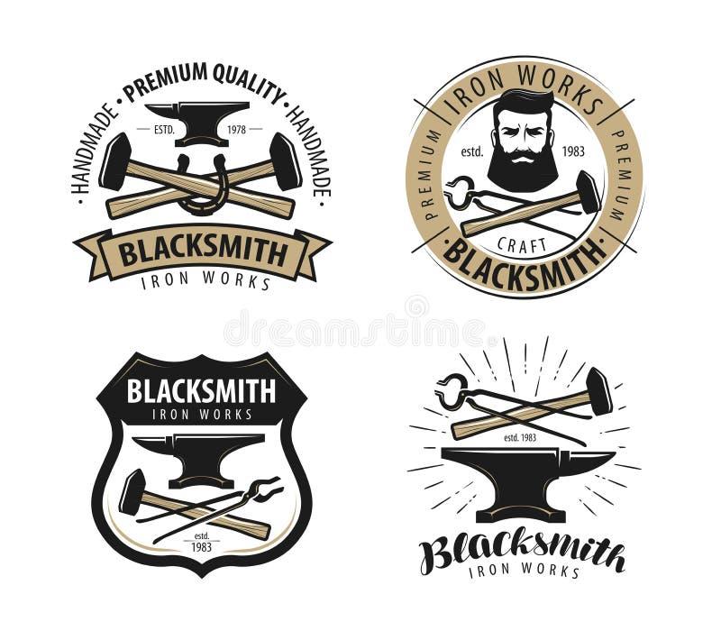 Schmiede, Schmiedelogo oder Aufkleber Blacksmithing-Satz Embleme lizenzfreie abbildung