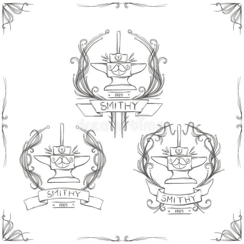 Schmiede-Weinlese-Logos vektor abbildung