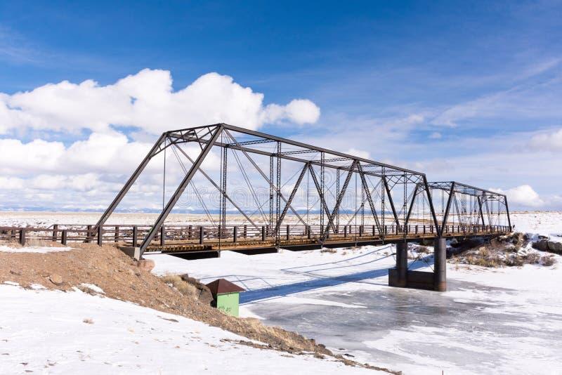 Schmiedeeisen-Brücke 1892, die Rio Grande, Colorado überspannt lizenzfreie stockbilder