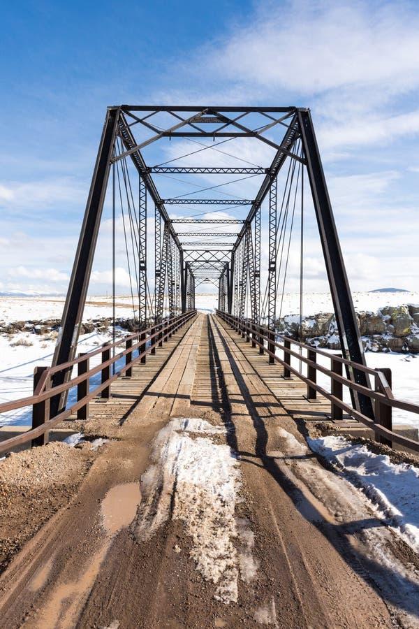 Schmiedeeisen-Brücke 1892, die Rio Grande, Colorado überspannt lizenzfreies stockfoto
