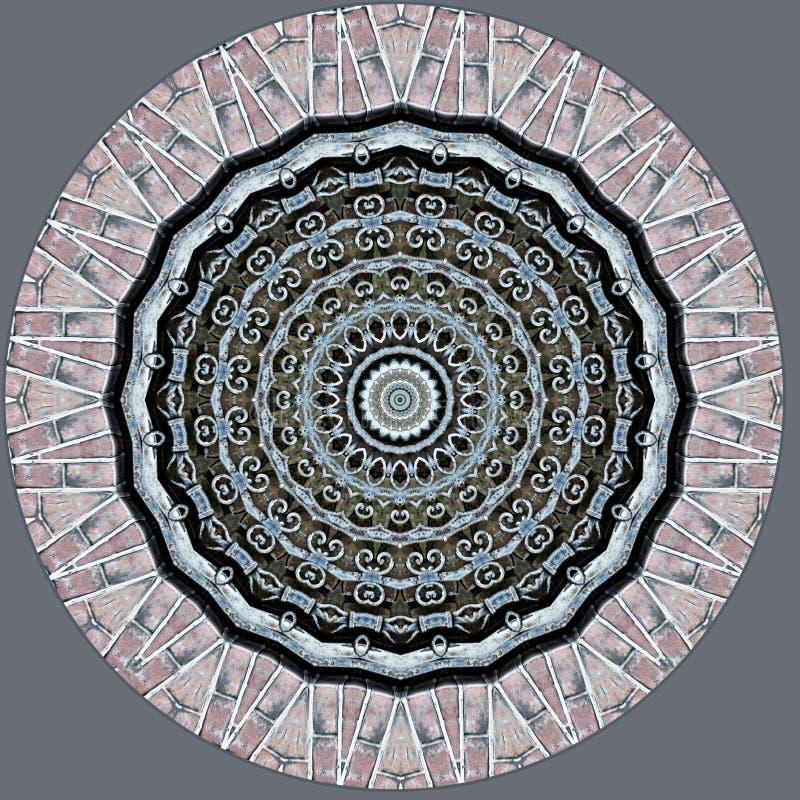 Schmiedeeisengel?nder und gesehenes durch Kaleidoskop des Klinkers Maurerarbeit stock abbildung