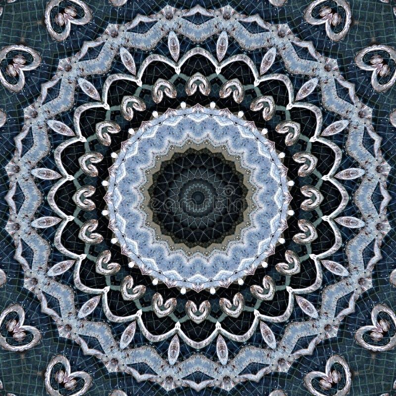 Schmiedeeisengel?nder und gesehenes durch Kaleidoskop des Klinkers Maurerarbeit vektor abbildung