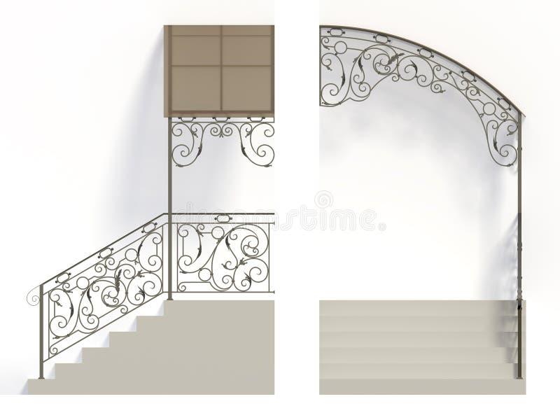 Schmiedeeisentreppemit der eisenbahn befördern und -kabinendach vektor abbildung