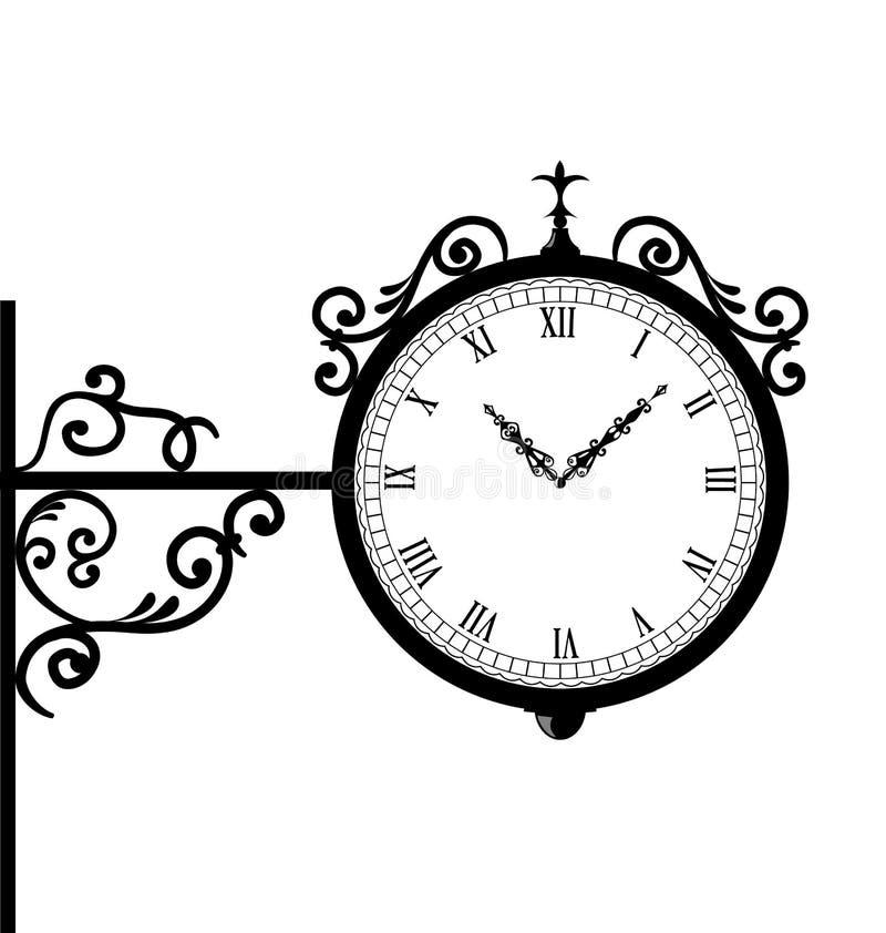Schmieden der Retro- Uhr mit Vignettenpfeilen lizenzfreie abbildung