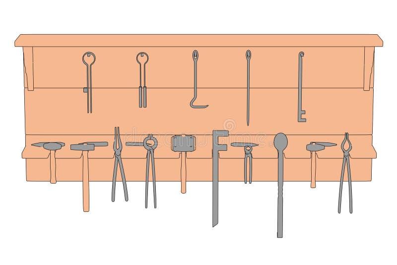 Schmiederegal mit Werkzeugen lizenzfreie abbildung