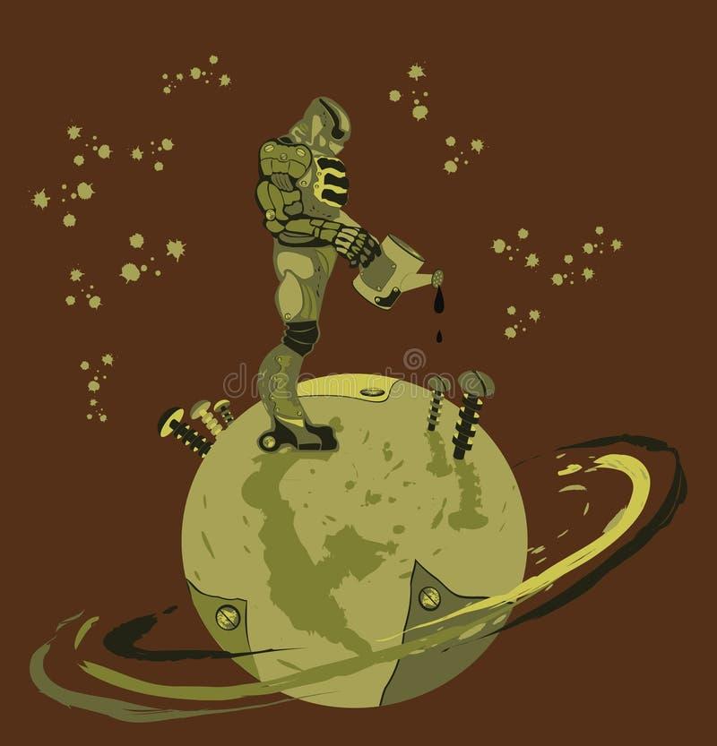 Schmieröl, das auf der Erde verschüttet wird vektor abbildung