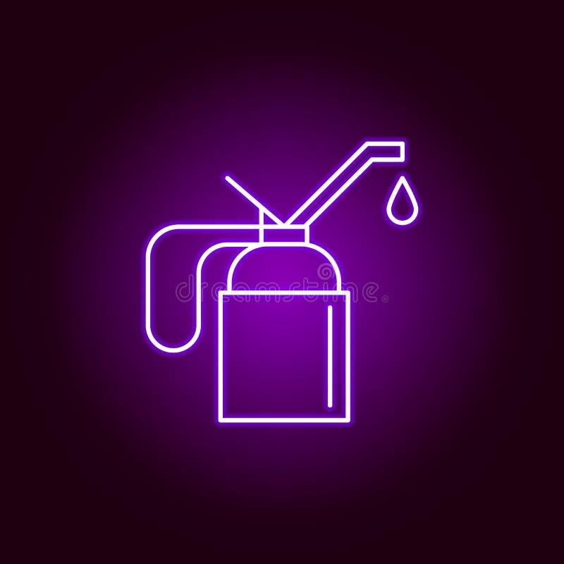 Schmieröl-Entwurfsikone in der Neonart Elemente der Autoreparaturillustration in der Neonartikone Zeichen und Symbole k?nnen verw lizenzfreie abbildung