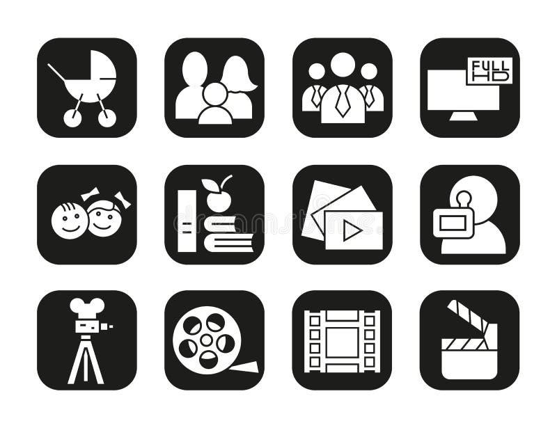 Schmierfilmbildungsikonen eingestellt Film clapperboard, Videofilm, Spielknopf, videographer, Kindersymbol Vektorweißschattenbild lizenzfreie abbildung