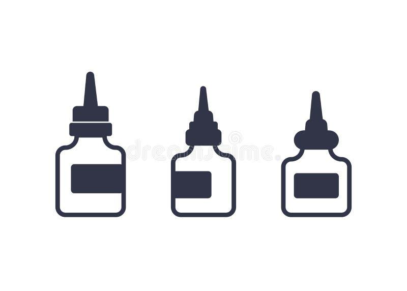 Schmiermittel, Öl für Fahrradikonen auf Weiß vektor abbildung
