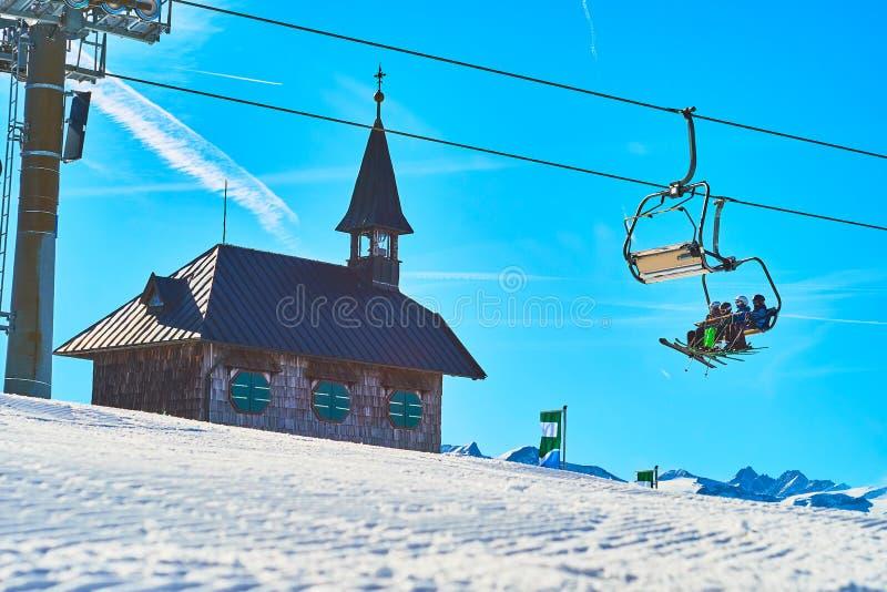 Schmitten góry przyciągania, Zell są Widzią, Austria zdjęcie stock