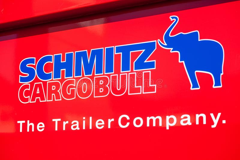 Schmitz Cargobull logo on a MAN dumper truck royalty free stock image
