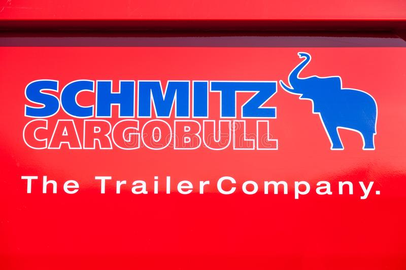 Schmitz Cargobull logo on a MAN dumper truck stock photography