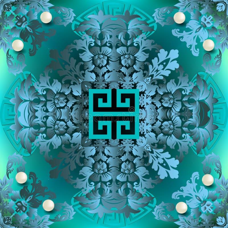 Schmuck-Jahrgang 3dBarock Vektor nahtloses Muster Damast-Zierhintergrund Abstrakter geometrischer griechischer Stil stock abbildung