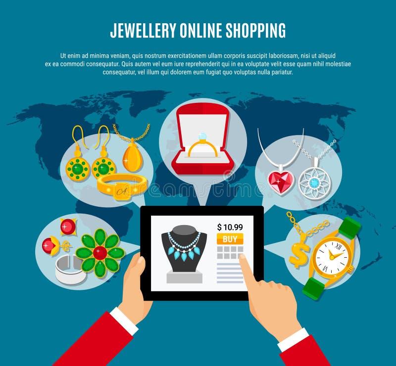 Schmuck-on-line-Einkaufszusammensetzung lizenzfreie abbildung