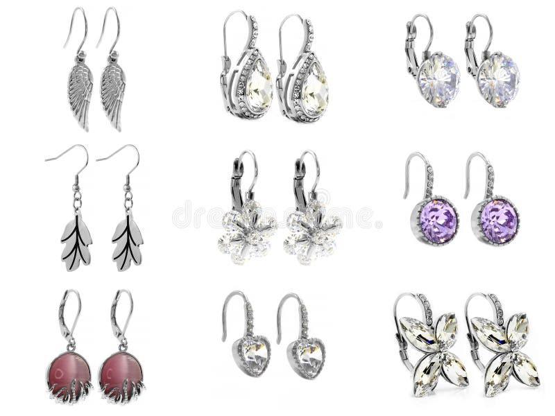 Schmuck, Ohrringe für Frauen 375 Magnumrevolver lizenzfreies stockbild