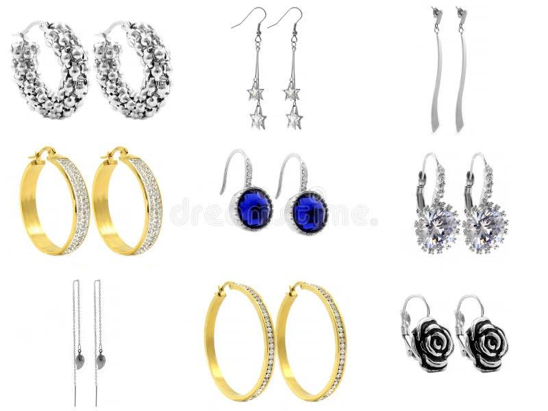 Schmuck, Ohrringe für Frauen 375 Magnumrevolver lizenzfreies stockfoto