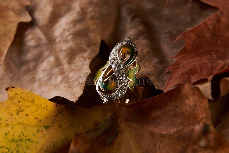 Schmuckgolddiamantring auf Herbstlaubhintergrund lizenzfreies stockfoto