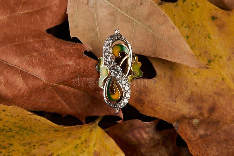 Schmuckgolddiamantring auf Herbstlaubhintergrund mit Kopie lizenzfreies stockbild