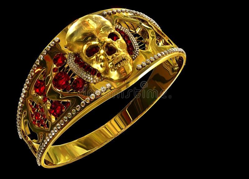Download Schmuckgoldschädelring Mit Diamanten Und Roten Karminroten Edelsteinen Stock Abbildung - Illustration: 102516209