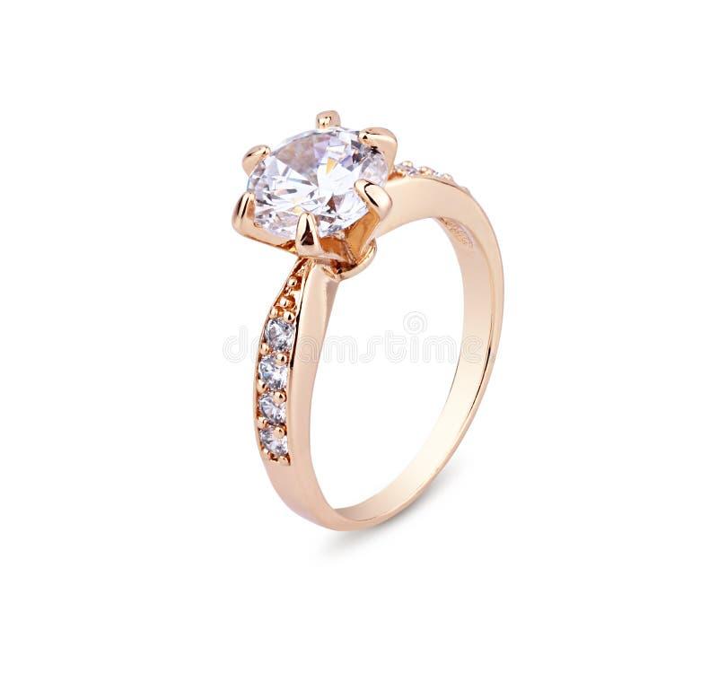 Schmuckring mit dem Diamanten lokalisiert auf Weiß lizenzfreies stockbild
