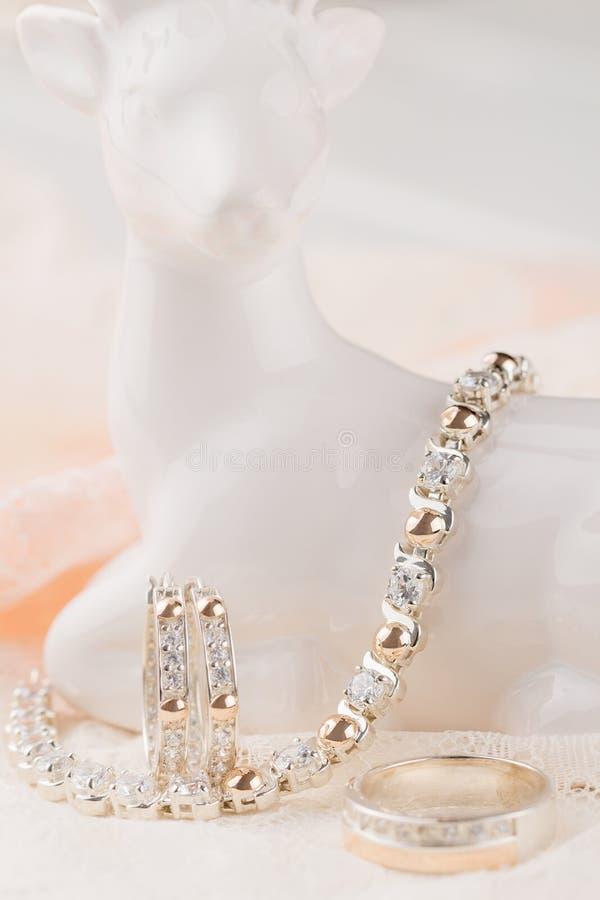 Schmucksatz des Silber- und Goldarmbandes, der eaarings und des Ringes stockfotografie