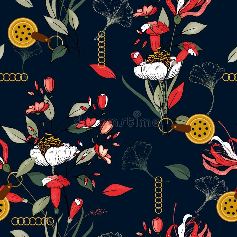 Schmuckzubehör, dekorativ, mit orangefarbenen grünen Blättern oder Blättern und roten Blumen, nahtlose botanische Muster realisti stock abbildung