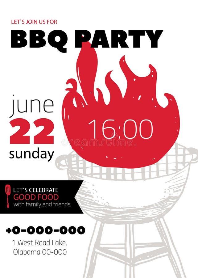Schmutz BBQ-Partei-Einladungs-Schablone für Poster, Flieger Grillgrill manu auf weißem Hintergrund Retro- Picknickart vektor abbildung