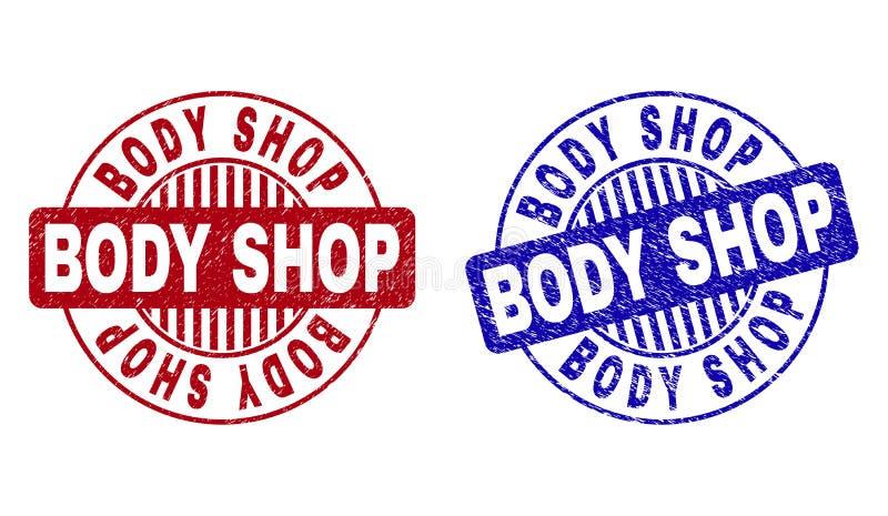 Schmutz BODY SHOP verkratzte runde Stempelsiegel lizenzfreie abbildung