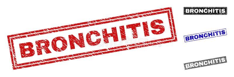 Schmutz-BRONCHITIS verkratzte Rechteck-Wasserzeichen stock abbildung