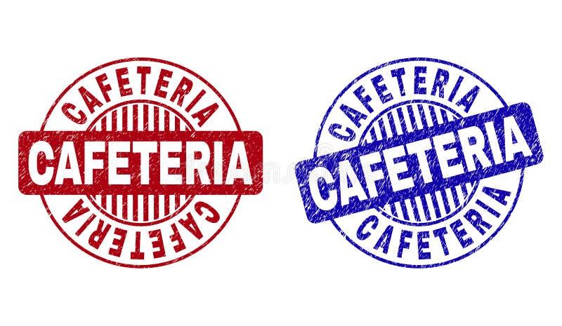 Schmutz CAFETERIA verkratzt ringsum Stempelsiegel vektor abbildung