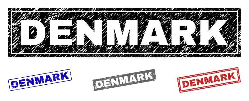 Schmutz DÄNEMARK verkratzte Rechteck-Wasserzeichen vektor abbildung