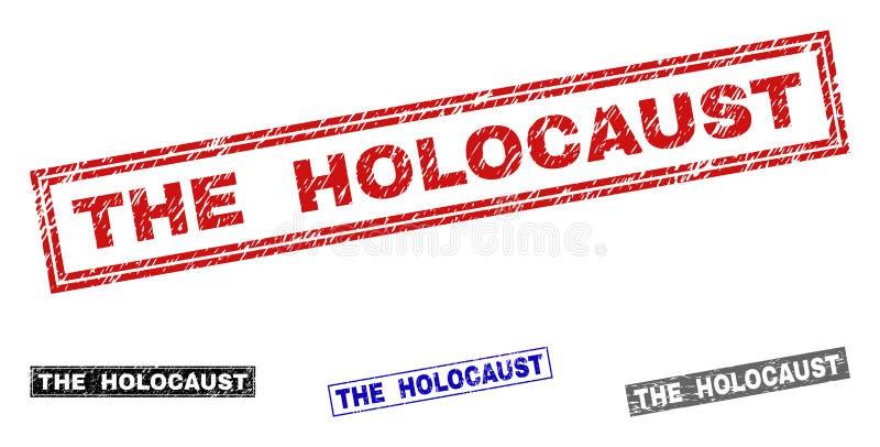 Schmutz die HOLOCAUST verkratzten Rechteck-Stempel vektor abbildung
