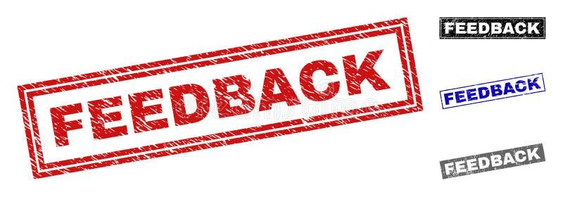 Schmutz FEEDBACK verkratzte Rechteck-Stempelsiegel lizenzfreie abbildung