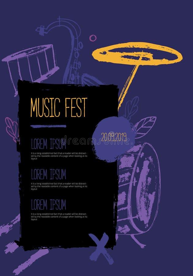 Schmutz-freihändiges Jazz Music-Plakat Übergeben Sie gezogene Illustration mit Bürstenanschlägen für Festival lizenzfreie abbildung
