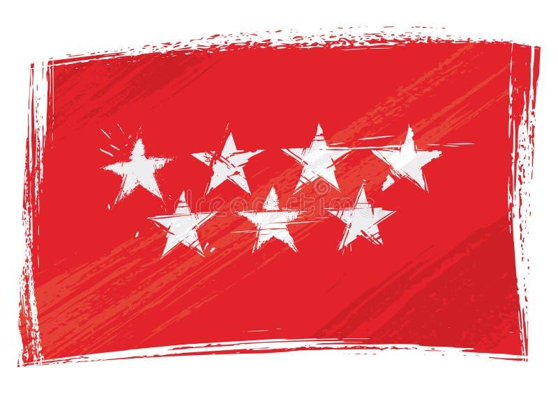 Schmutz gemalte Gemeinschaft von Madrid-Flagge vektor abbildung