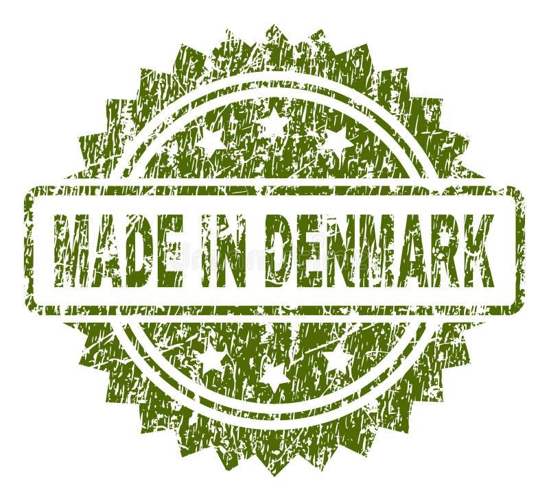 Schmutz gemasert GEMACHT IN DÄNEMARK-Stempelsiegel stock abbildung