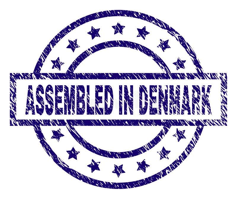 Schmutz gemasert ZUSAMMENGEBAUT IN DÄNEMARK-Stempelsiegel lizenzfreie abbildung
