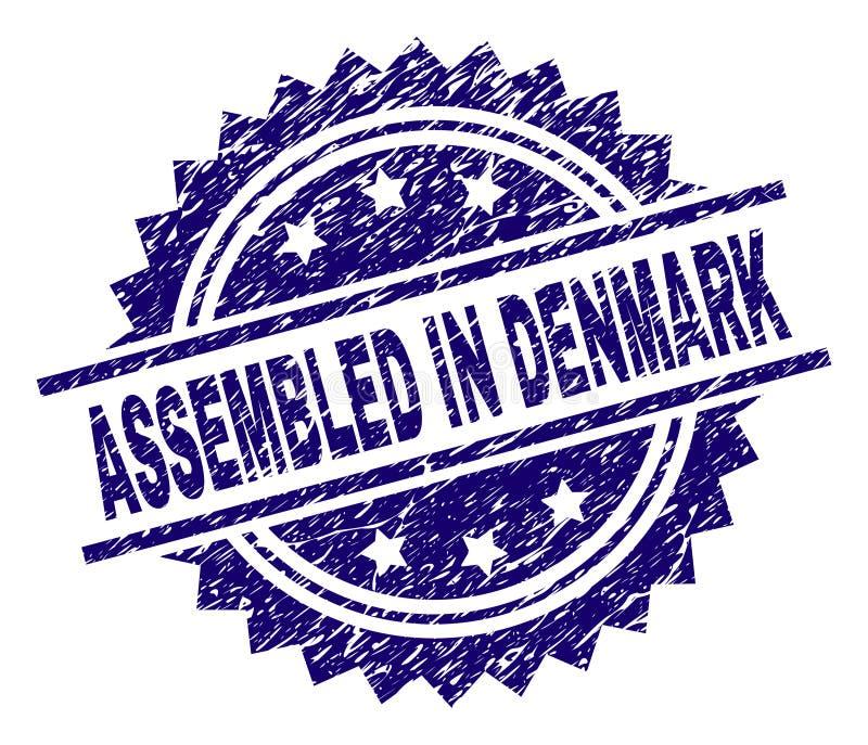 Schmutz gemasert ZUSAMMENGEBAUT IN DÄNEMARK-Stempelsiegel stock abbildung