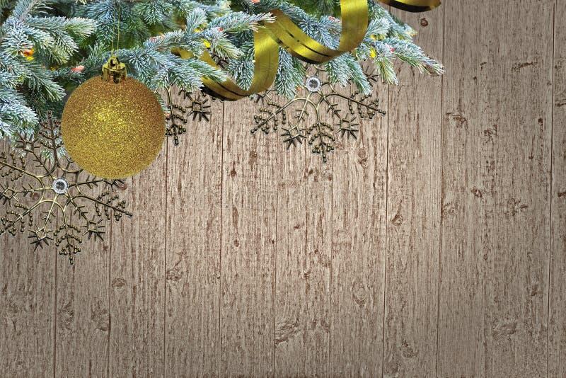 Schmutz-hölzernes Weihnachtsgrenzdesign mit Raum für Text stockfotos