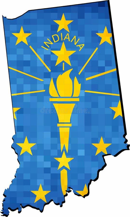 Schmutz-Indiana-Karte mit Flaggeninnere vektor abbildung