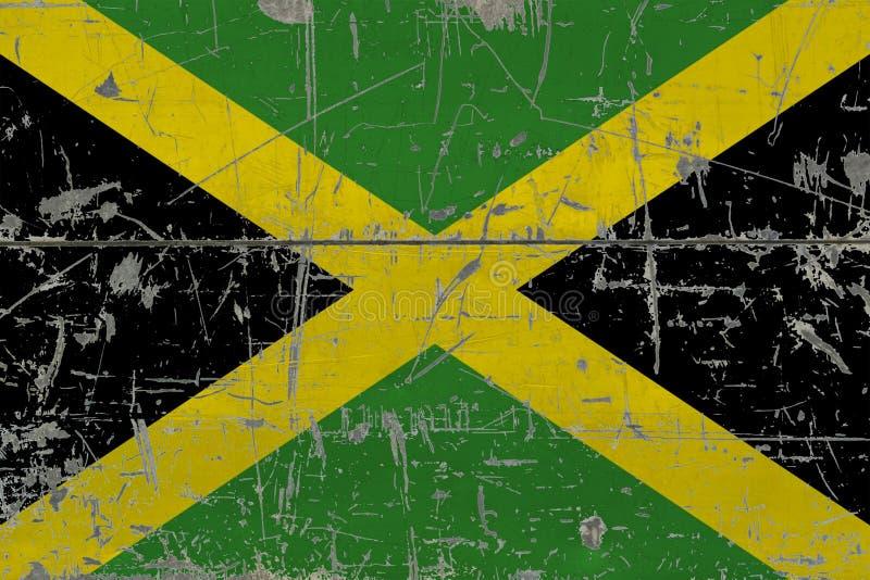 Schmutz-Jamaika-Flagge auf alter verkratzter Holzoberfläche Nationaler Weinlesehintergrund lizenzfreie abbildung