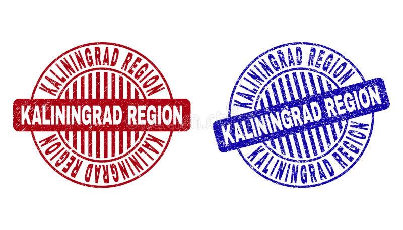 Schmutz KALININGRAD-REGION verkratzte runde Stempel vektor abbildung