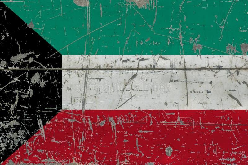 Schmutz-Kuwait-Flagge auf alter verkratzter Holzoberfläche Nationaler Weinlesehintergrund lizenzfreie abbildung