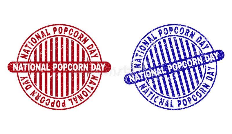 Schmutz maserte NATIONALER POPCORN-TAG runde Stempel lizenzfreie abbildung