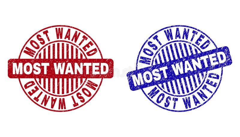 Schmutz MOST WANTED maserte runde Wasserzeichen stock abbildung