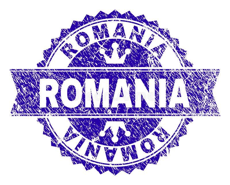 Schmutz strukturiertes RUMÄNIEN-Stempelsiegel mit Band stock abbildung